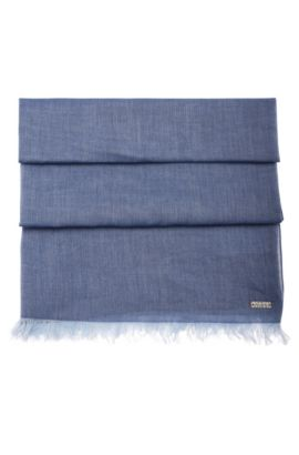 Lightweight scarf with fringe trim, Dark Blue