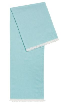 Lightweight scarf with fringe trim, Turquoise