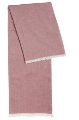Lightweight scarf with fringe trim, Dark Red