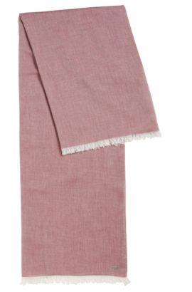 Lightweight scarf with fringe trim, Dark Red