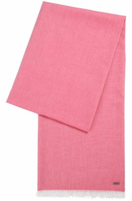 Lightweight scarf with fringe trim, Pink
