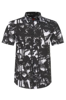 Slim-fit overhemd van katoen: 'Empson', Zwart