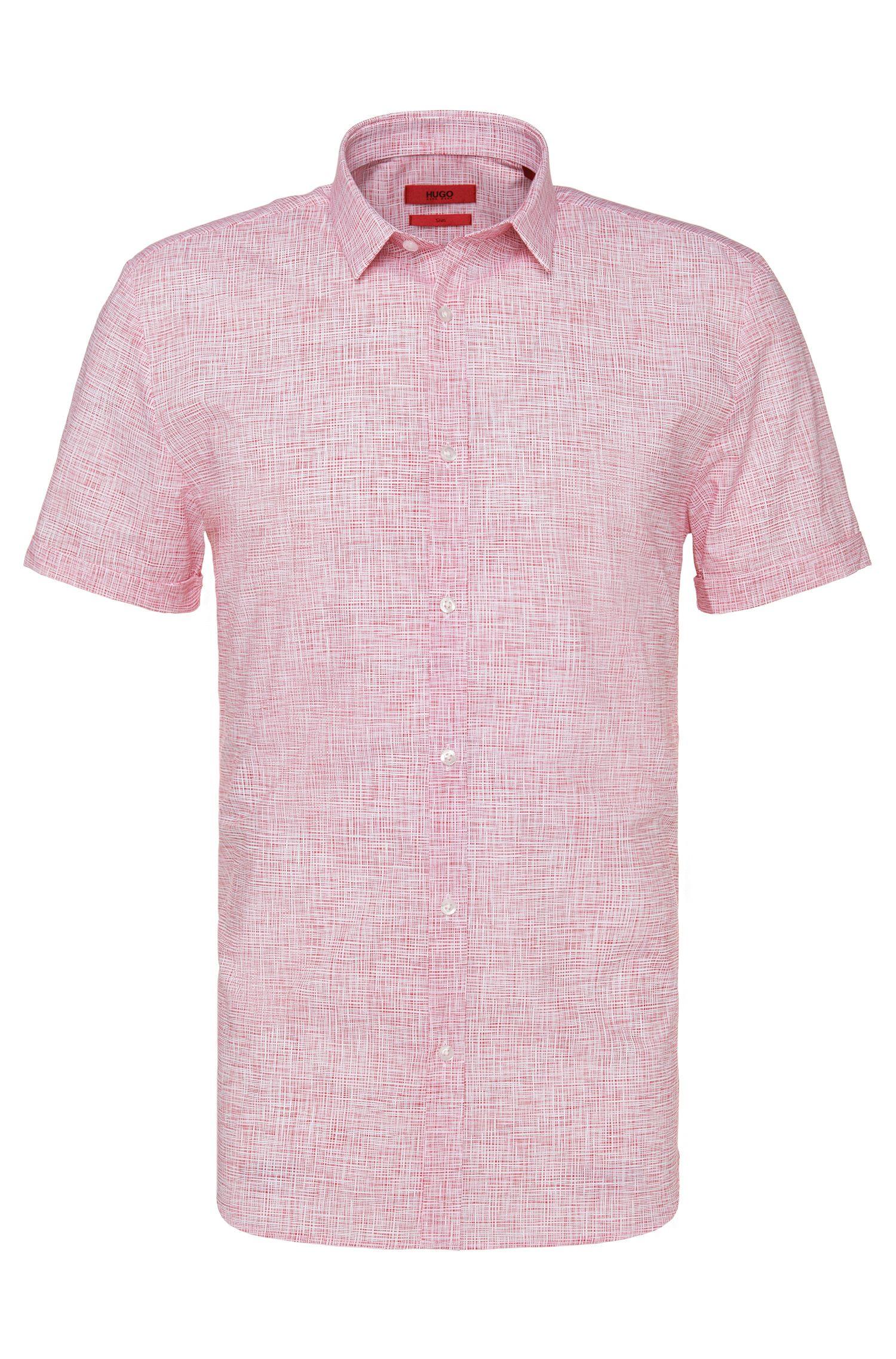 Slim-fit overhemd van katoen met dessin en korte mouwen: 'Empson'