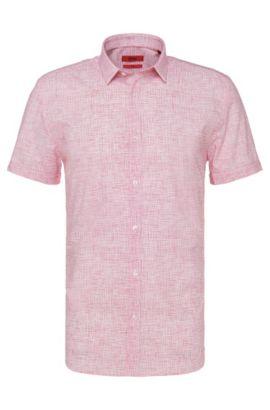Gemustertes Slim-Fit Kurzarmhemd aus Baumwolle: 'Empson', Rot