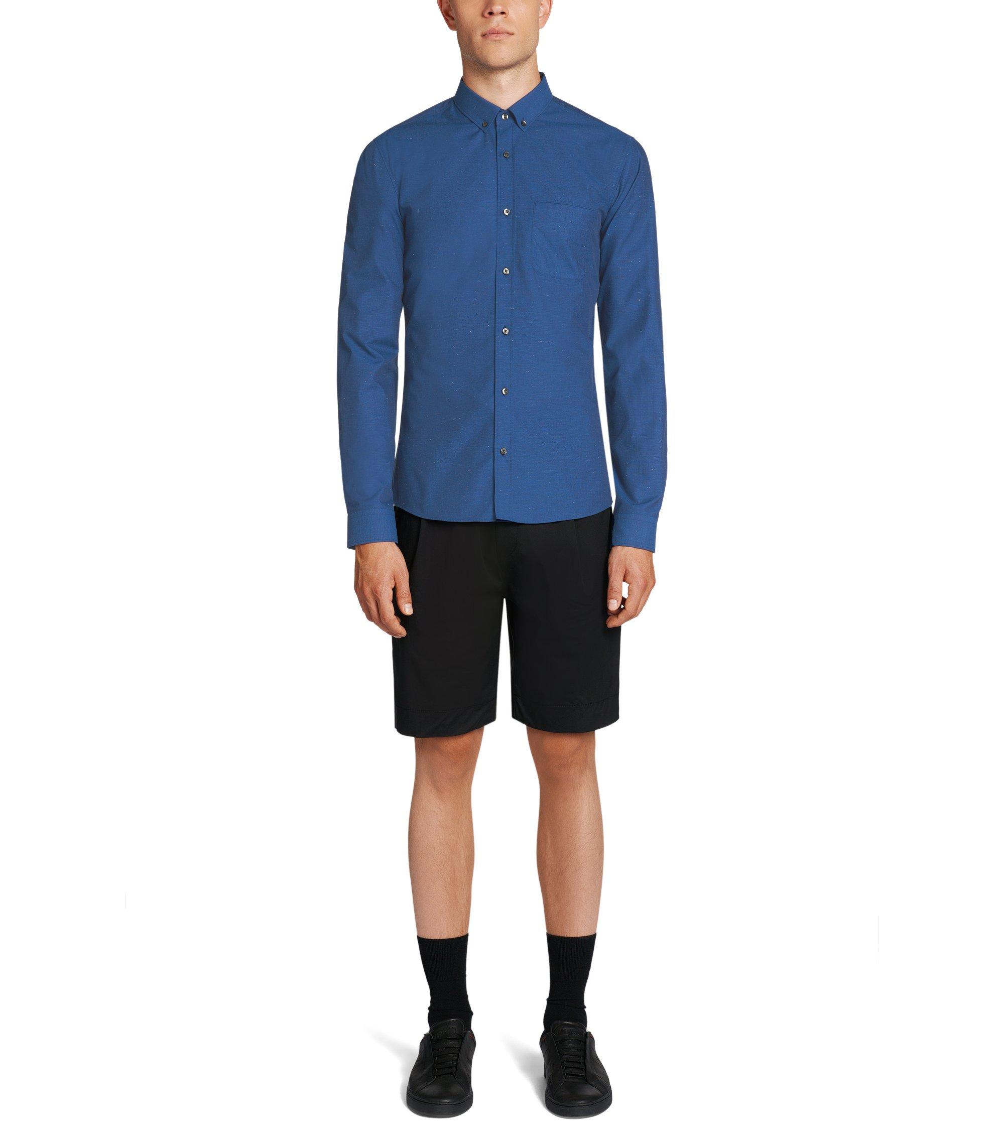Slim-Fit Hemd aus reiner Baumwolle mit kontrastfarbenen Fasern: 'Enico', Blau