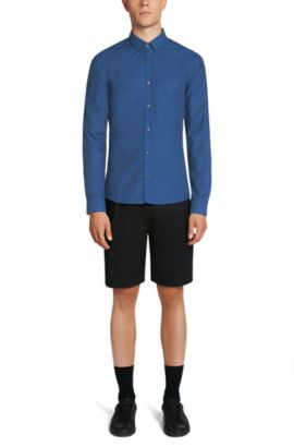 Chemise Slim Fit en pur coton rehaussée de fibres en contraste: «Enico», Bleu