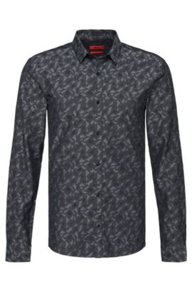 Slim-fit overhemd van katoen: 'Ero3', Zwart