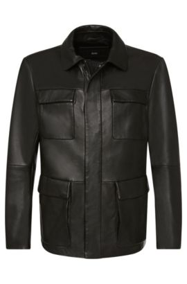 Blouson en cuir Regular Fit: «Girton», Noir
