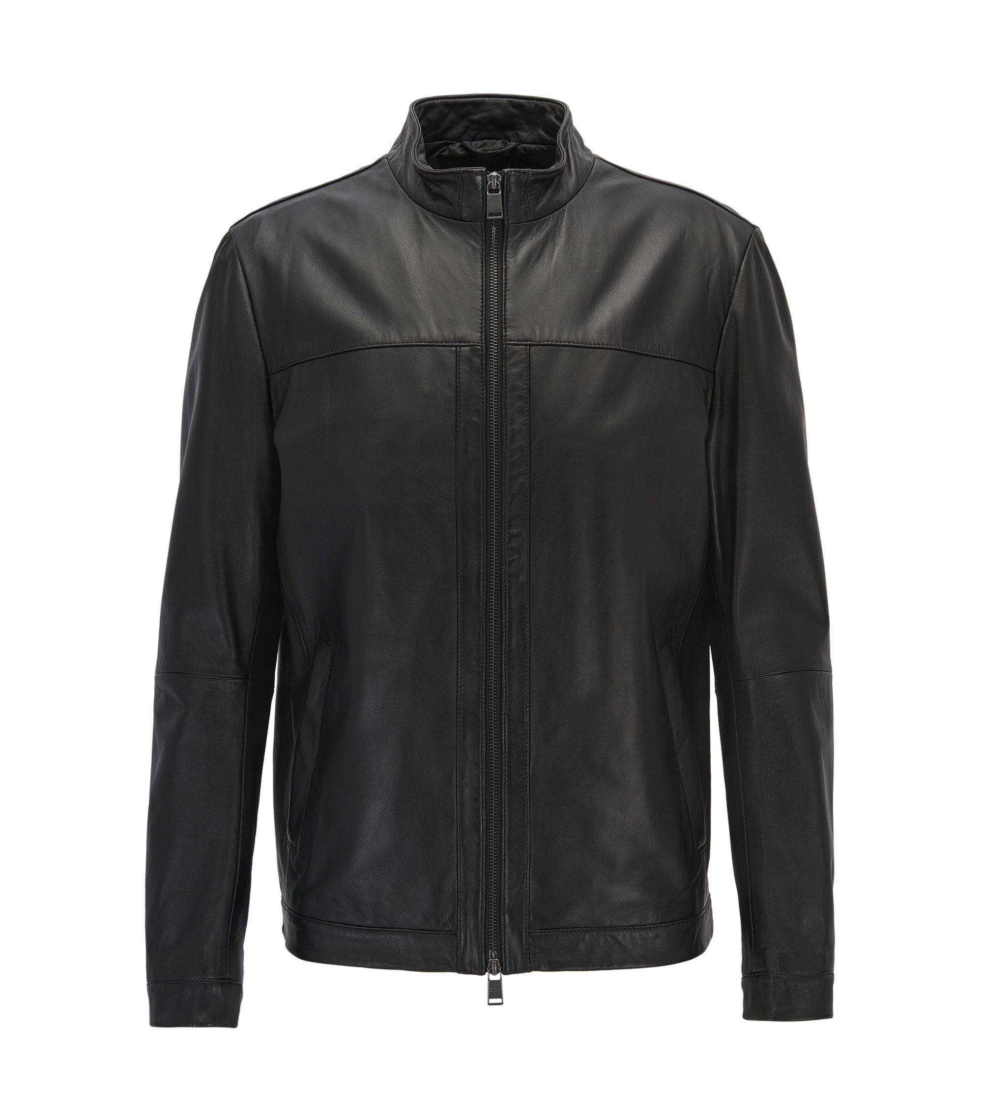 Regular-Fit Lederjacke: 'Arweo', Schwarz