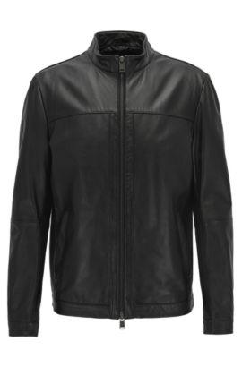 Blouson en cuir Regular Fit: «Arweo», Noir