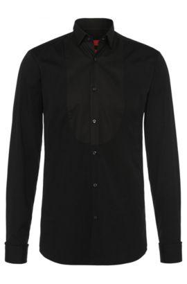 Chemise Slim Fit en coton: «Epulet», Noir