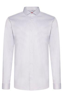 Unifarbenes Slim-Fit Hemd aus Baumwolle: 'Erondo', Hellgrau