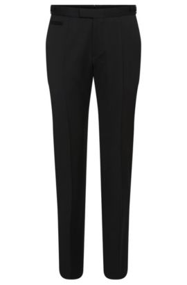Straight-cut trousers in new wool: 'Glister', Black