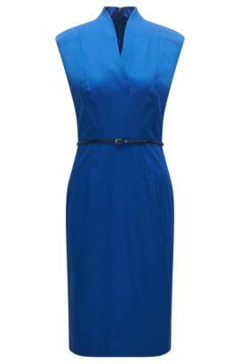 Robe fourreau sans manches en coton extensible dotée d'une fine ceinture: «Difena2», Bleu