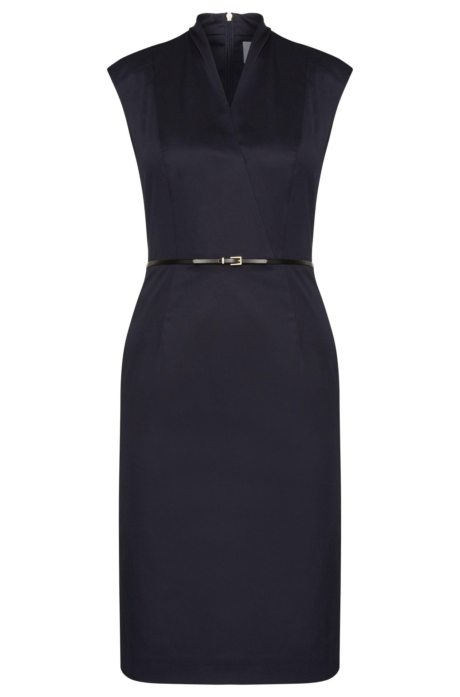 Mouwloze etui-jurk van stretchkatoen met fijne ceintuur: 'Difena2'