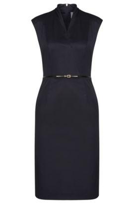 Robe fourreau sans manches en coton extensible dotée d'une fine ceinture: «Difena2», Bleu vif