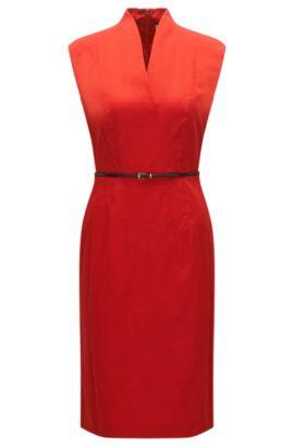 Ärmelloses Kleid aus Stretch-Baumwolle mit Gürtel: 'Difena2', Rot