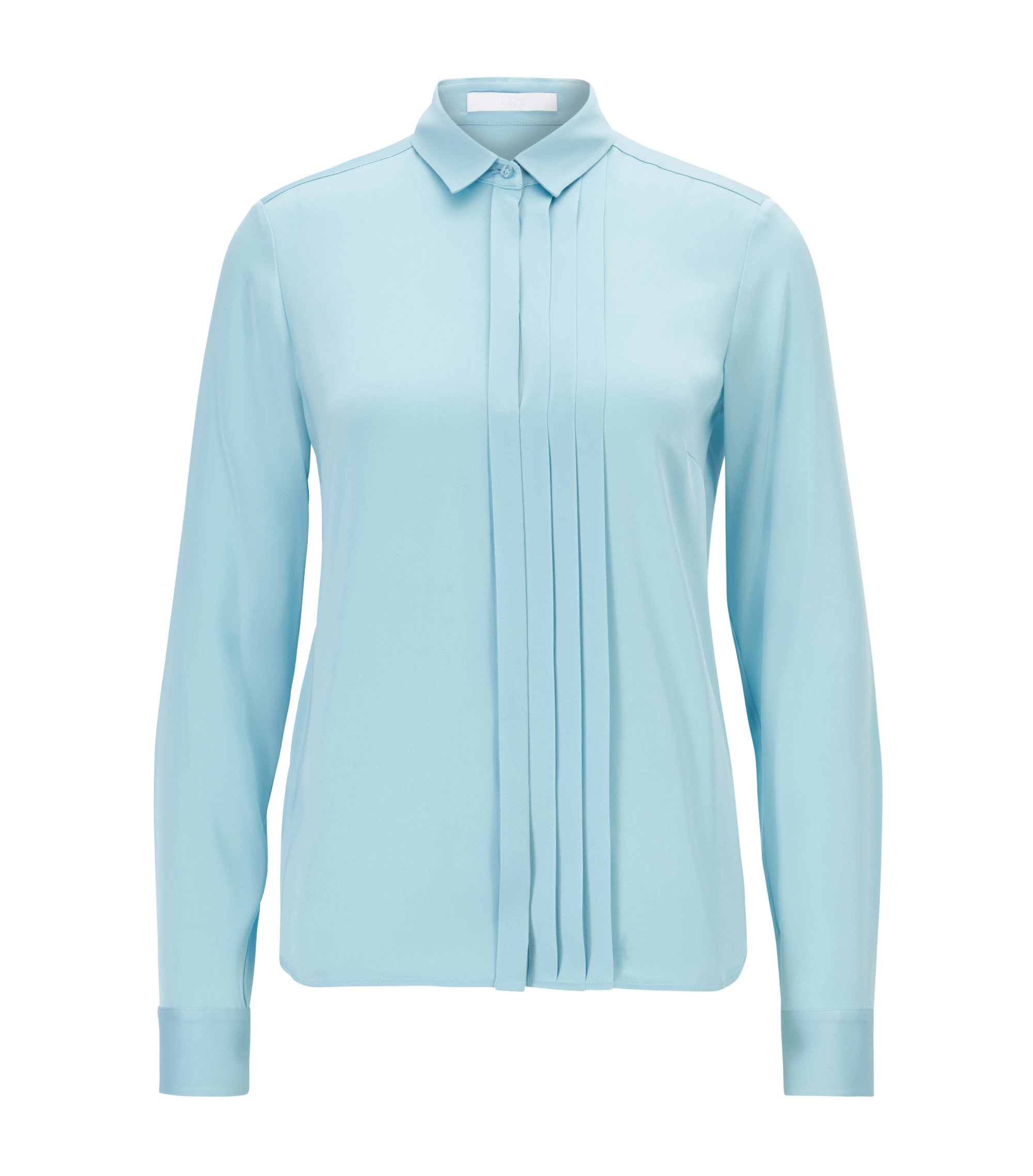 Regular-Fit Bluse aus Stretch-Seide mit Falten-Detail, Hellblau