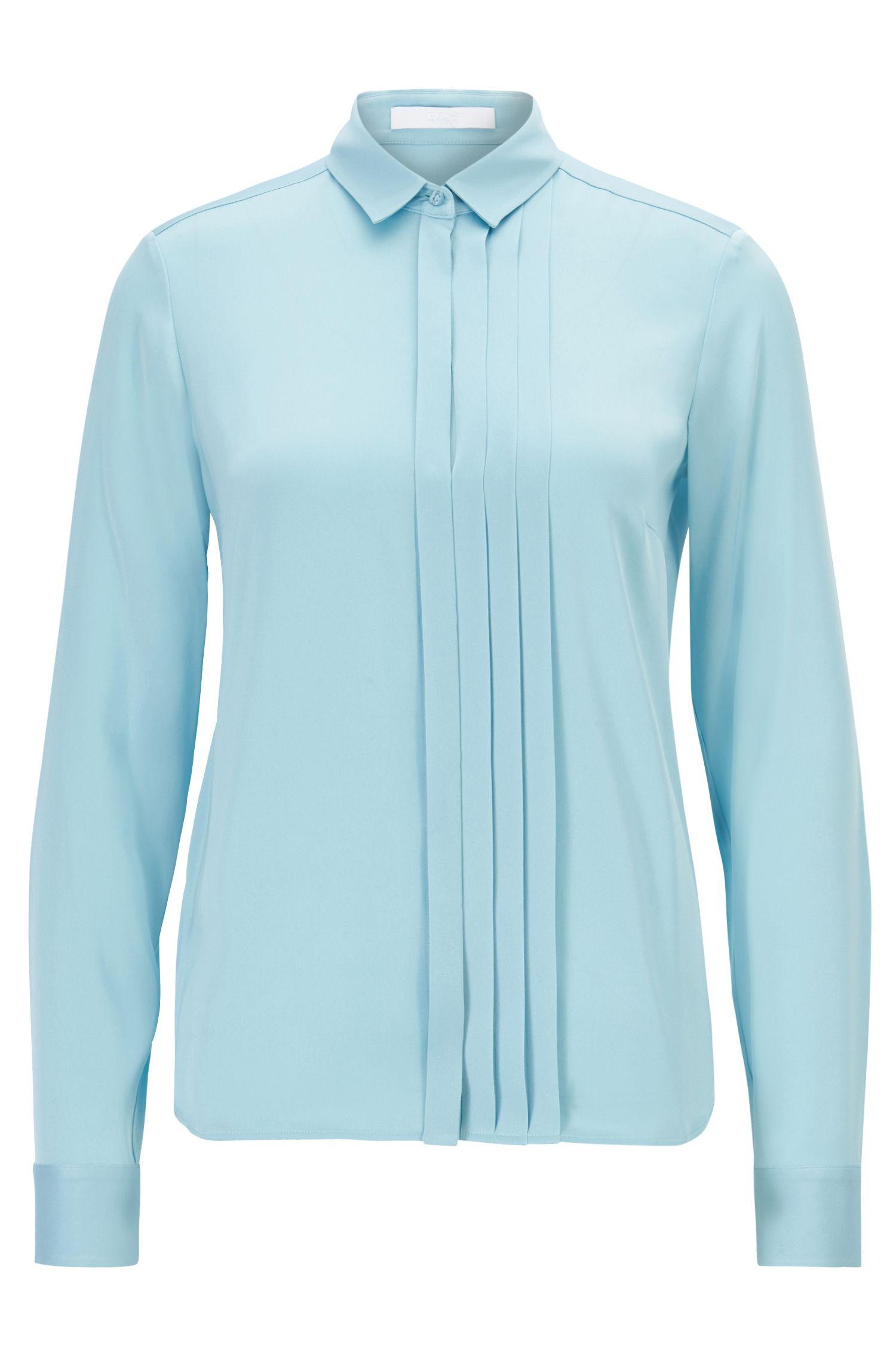 Regular-fit blouse met geplooide voorkant van zijde met stretch