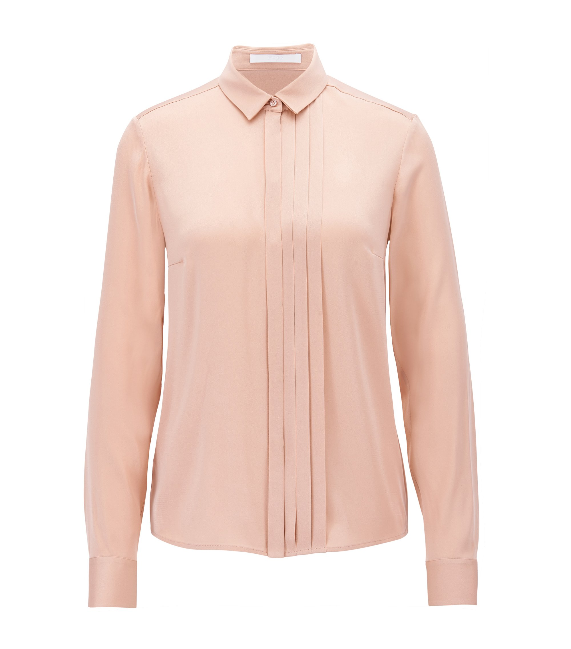 Regular-fit pleat-front blouse in stretch silk, light pink