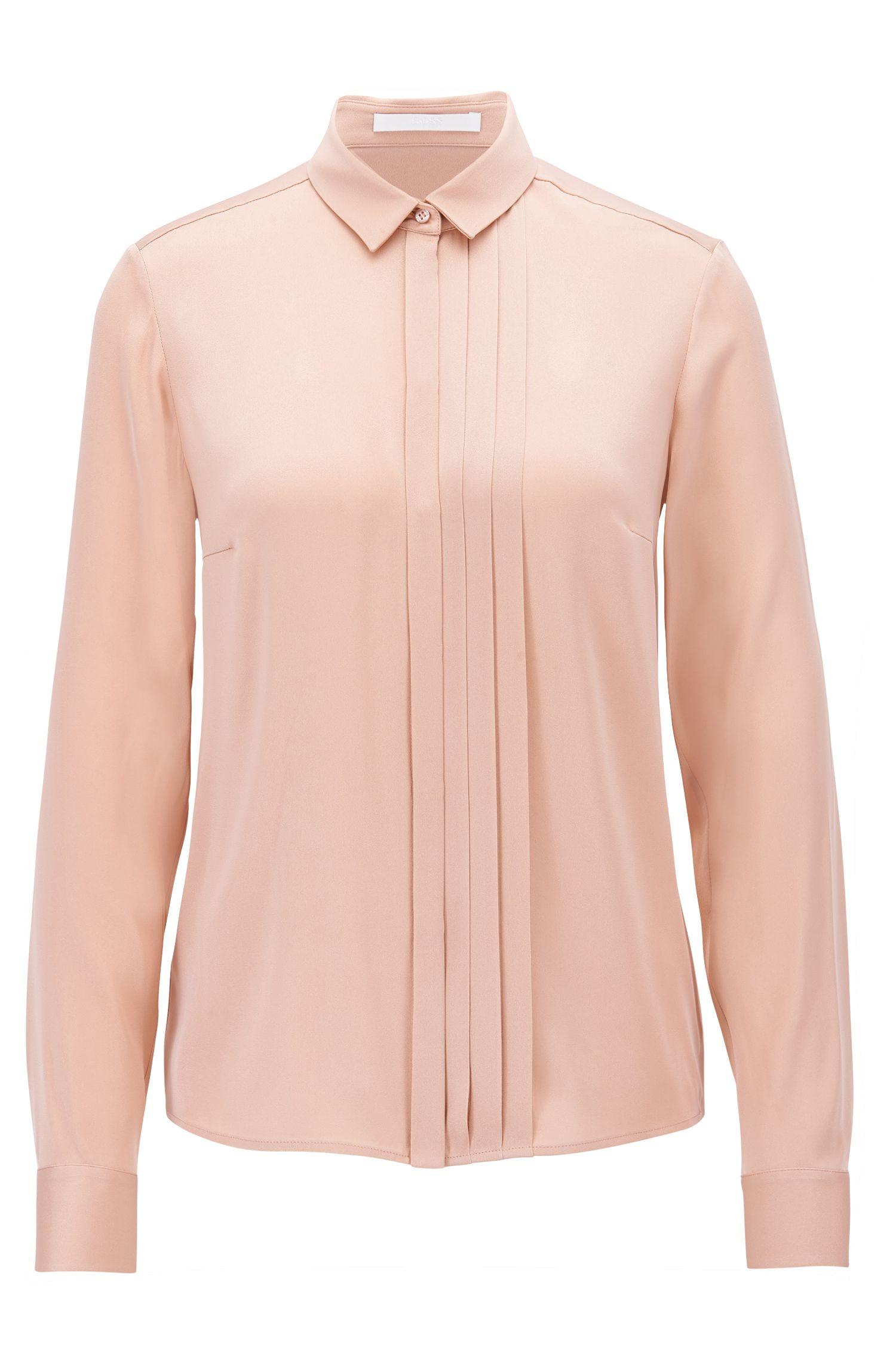 Regular-Fit Bluse aus Stretch-Seide mit Falten-Detail