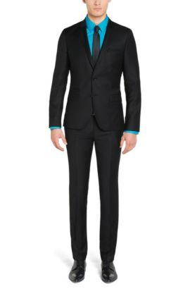 Fijngestructureerd slim-fit kostuum van scheerwol: 'Arti1/Heibo3', Zwart