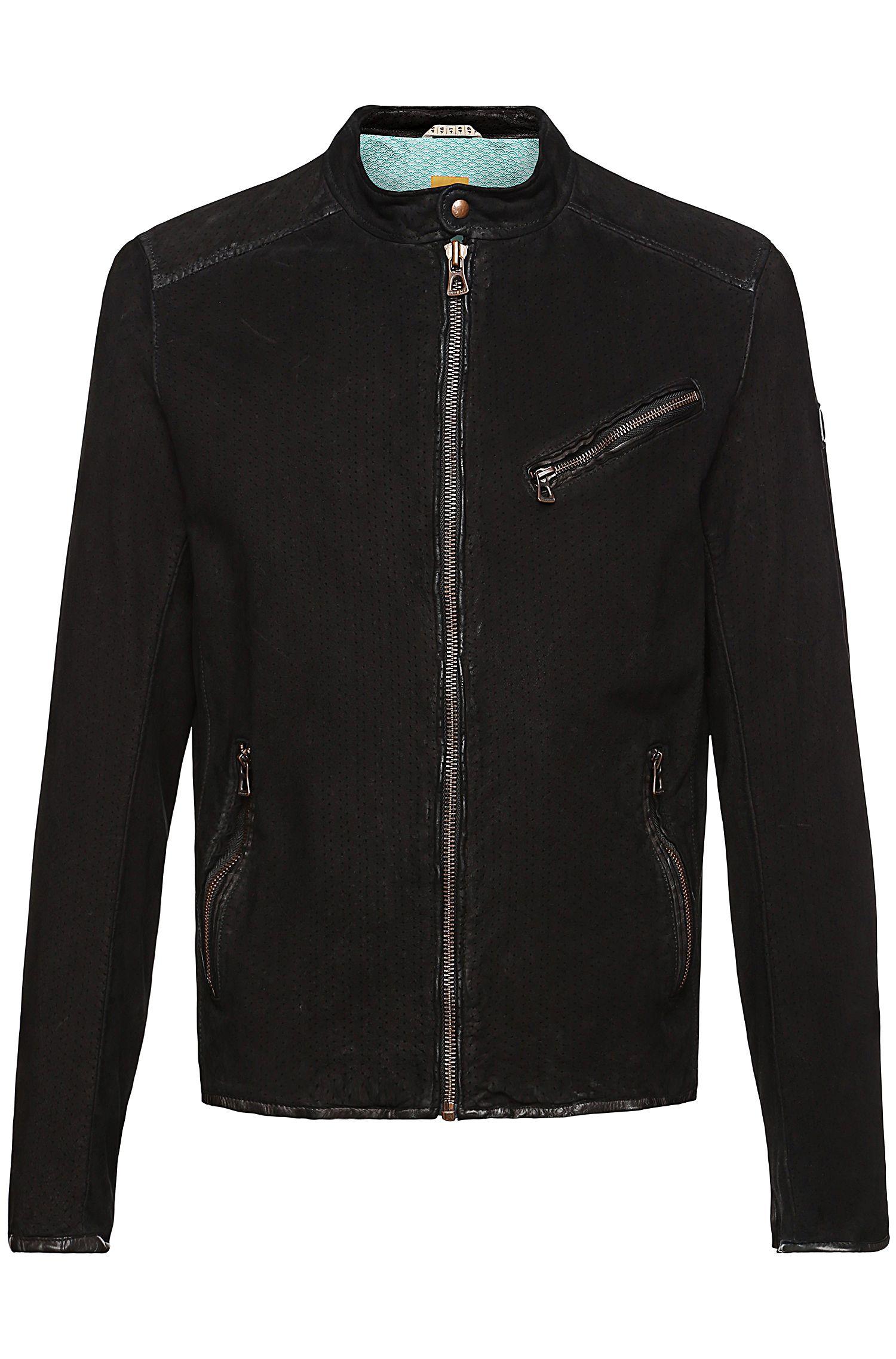 Blouson en cuir avec motif perforé: «Julino2_R»