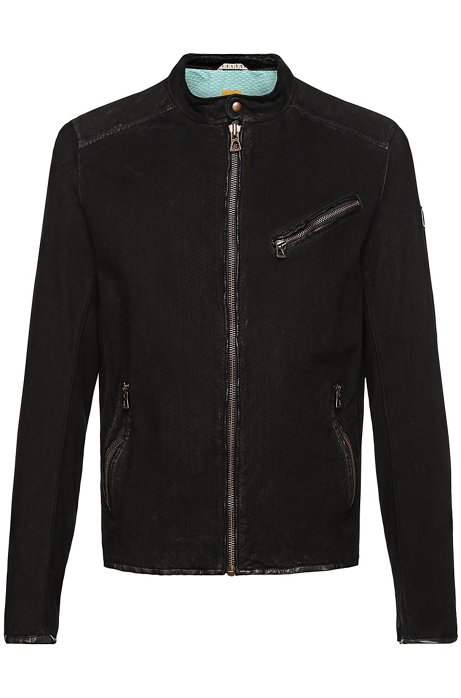 Leather jacket with perforations: 'Julino2_R', Black