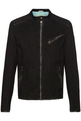 Leren jas met perforaties: 'Julino2_R', Zwart