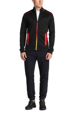Sweatshirt-Jacke aus Baumwoll-Mix: ´Skaz Flag`, Schwarz