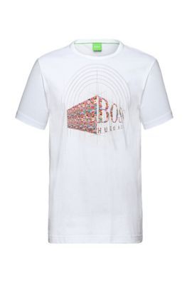 T-shirt in cotone con stampa frontale: 'Tee Flag 3', Naturale