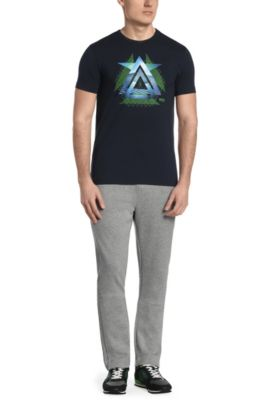 Bedrucktes Regular-Fit T-Shirt aus Stretch-Baumwolle: ´Tee 11`, Dunkelblau