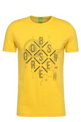 Baumwoll-T-Shirt mit Frontprint: ´Tee 3`, Gelb