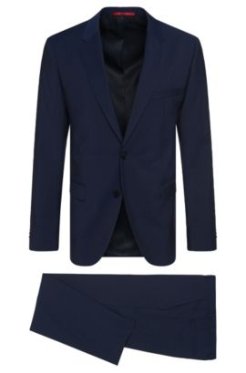 Regular-fit suit in virgin wool , Blue