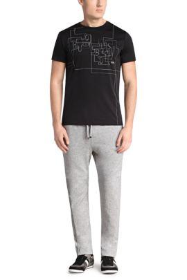 T-shirt en coton mélangé: «Tee 9», Noir