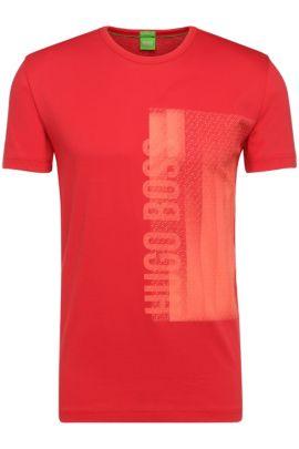 T-shirt en coton à imprimé sur le devant: «Tee4», Rouge clair