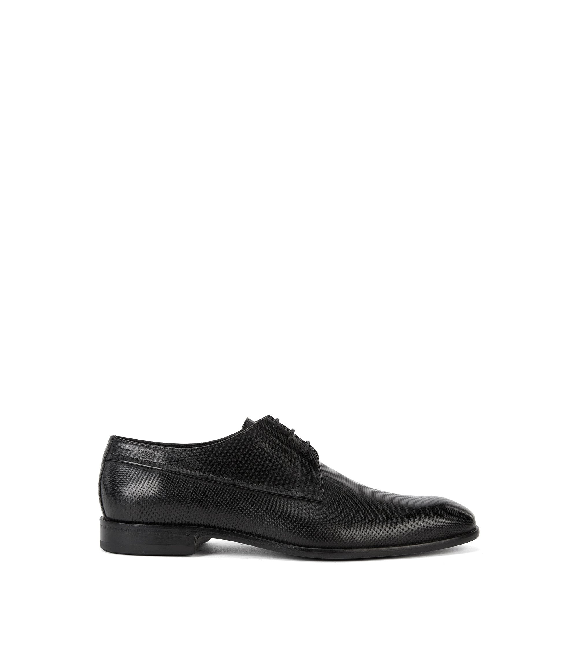 Derby shoes in embossed calf leather by HUGO Man, Black