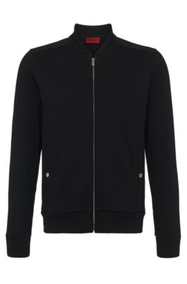 Sweat jacket in cotton: 'Donso', Black