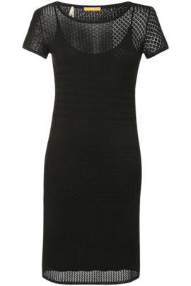 Viskose-Baumwoll-Kleid aus Lochstrick: ´Wistoriette`, Schwarz