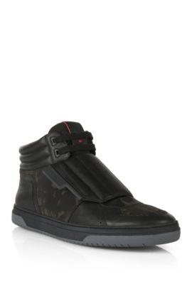 Knöchelhohe Sneakers mit Lederbesatz: 'Transk V', Schwarz