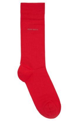 Calcetines de largo normal en algodón cepillado con elástico, Rojo claro