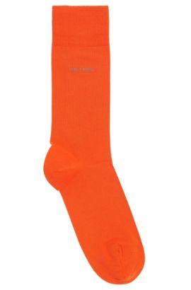 Chaussettes mi-hautes en coton peigné et stretch, Orange