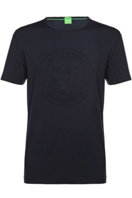 T-shirt van een katoenmix: 'Tee 8', Donkerblauw