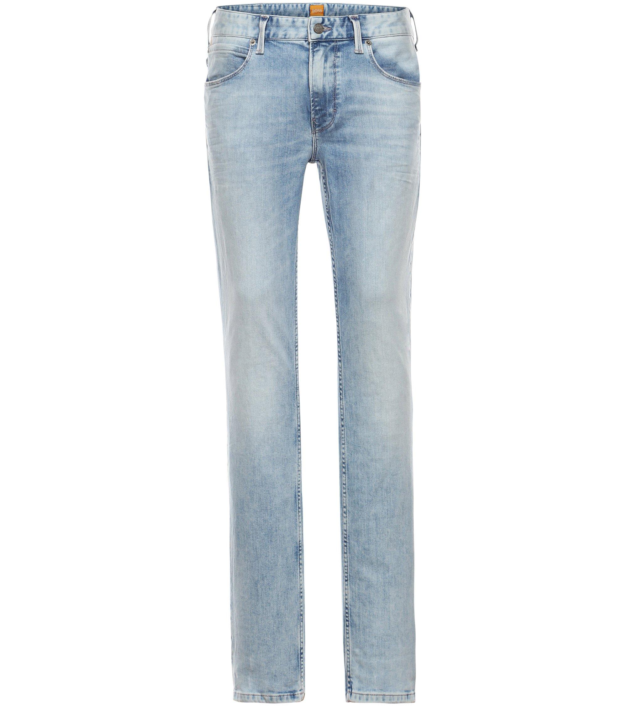 Slim-Fit Jeans in Used-Optik: ´Orange63`, Türkis