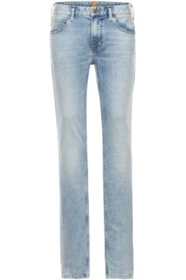 Slim-Fit Jeans in Used-Optik: ´Orange63`, Türkis