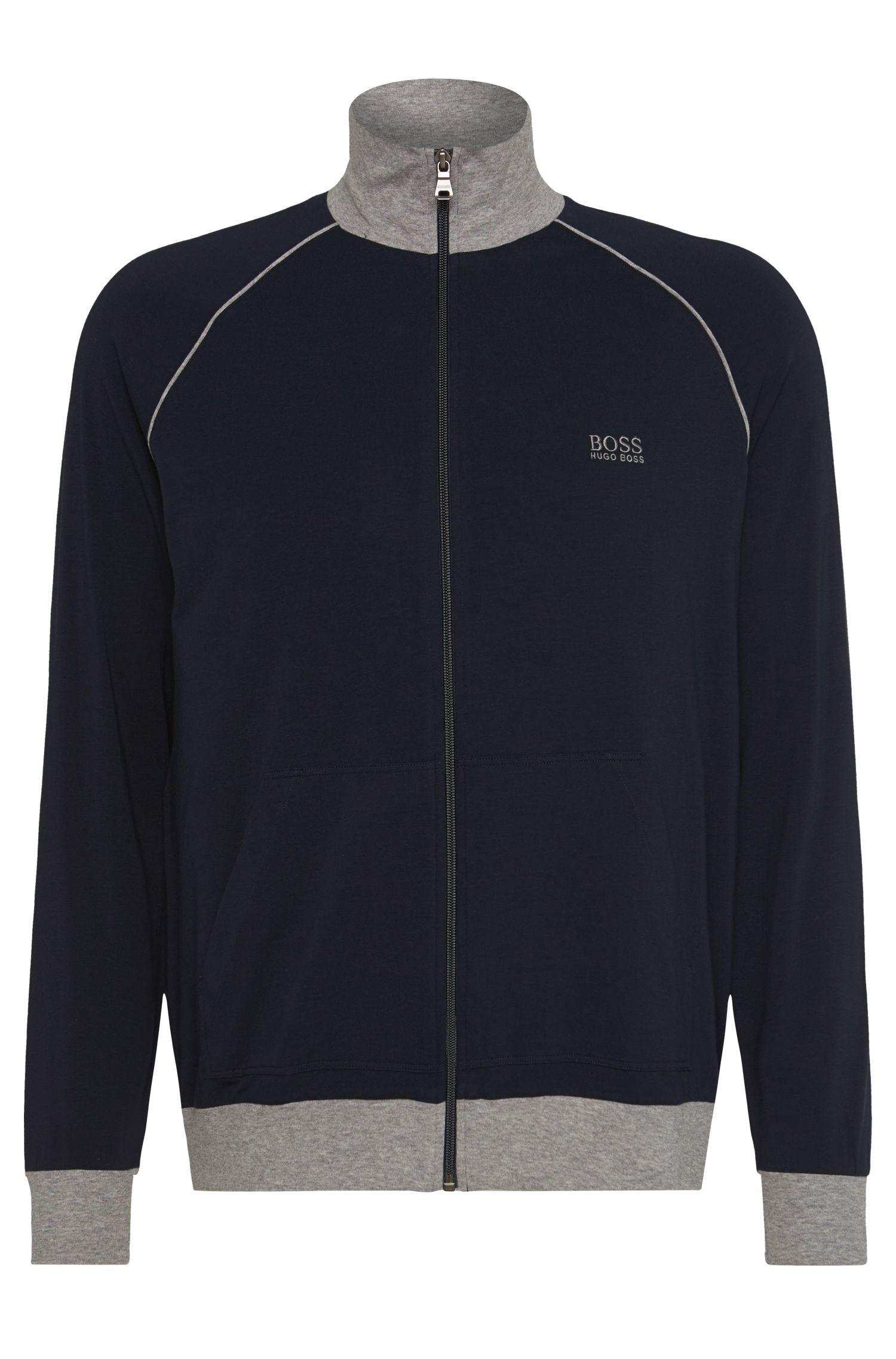 Veste zippée en jersey à détails contrastants