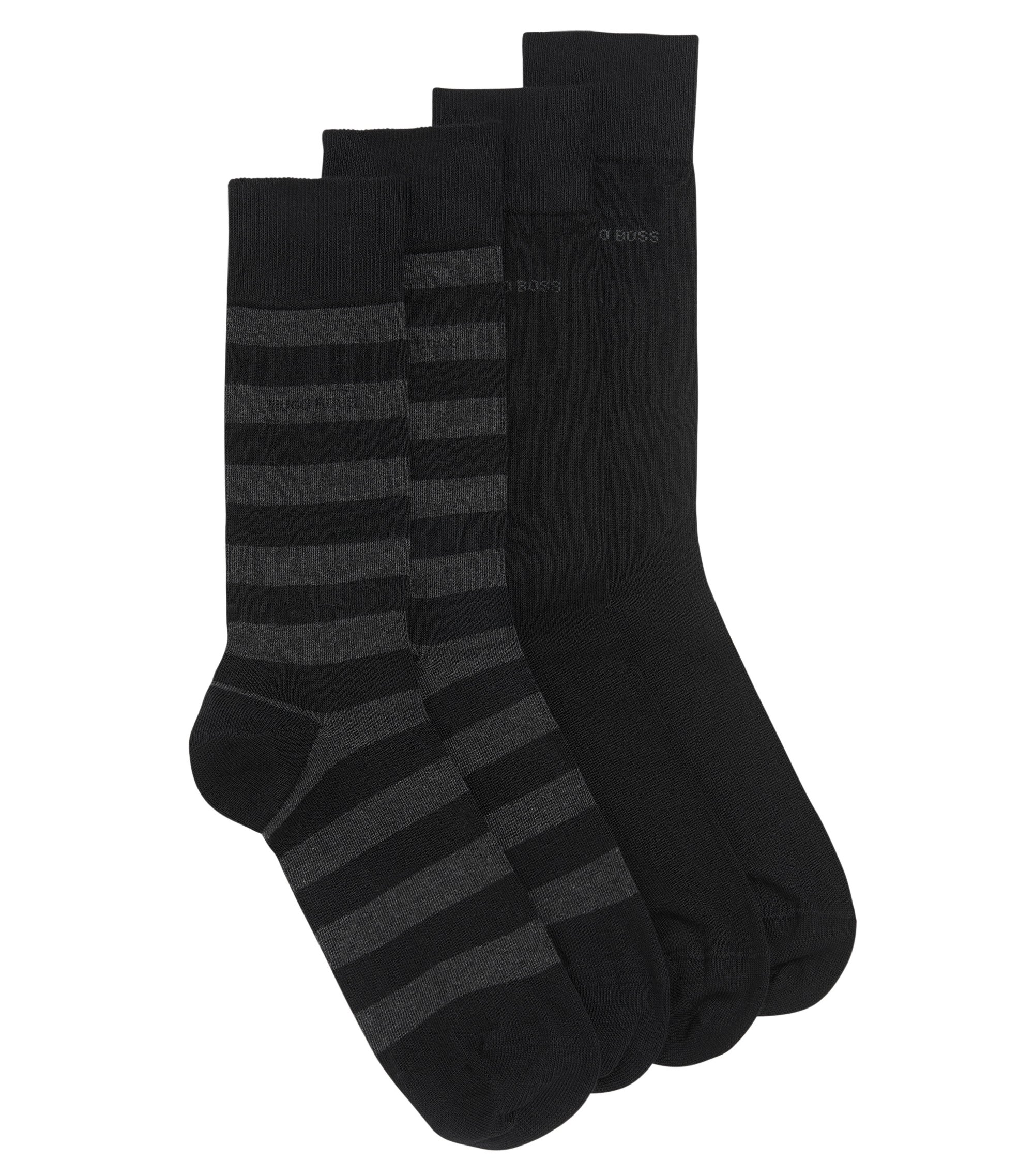 Two-pack of regular-length socks in combed cotton-blend , Black
