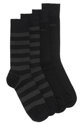 Set van twee paar sokken, van een gekamde katoenmix met een normale lengte, Zwart