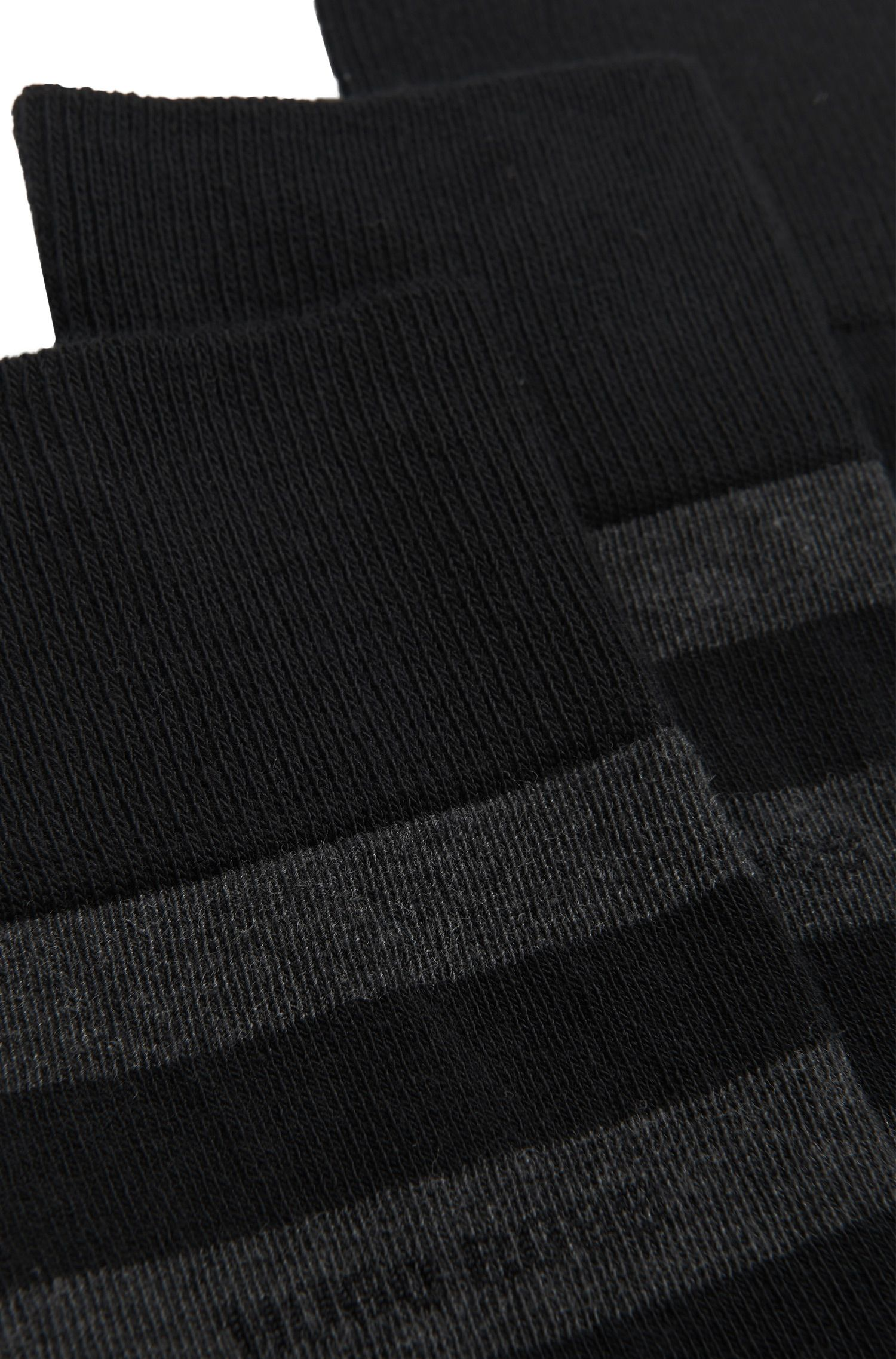 Chaussettes mi-hautes en coton mélangé peigné, en lot de deux, Noir