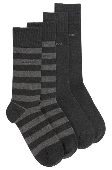 Two-pack of regular-length socks in combed cotton-blend , Anthracite